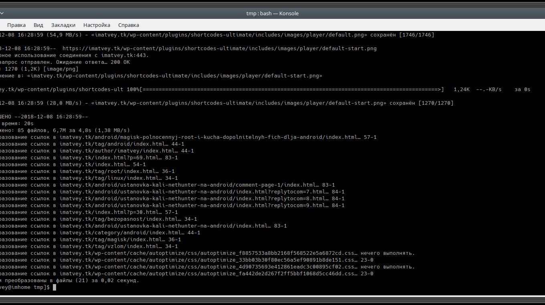 Скачивание сайта с помощью wget в Linux