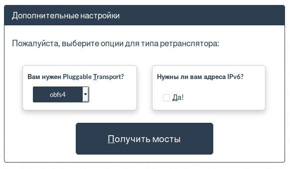 Настройки bridges.torproject.org для получения мостов obfs4