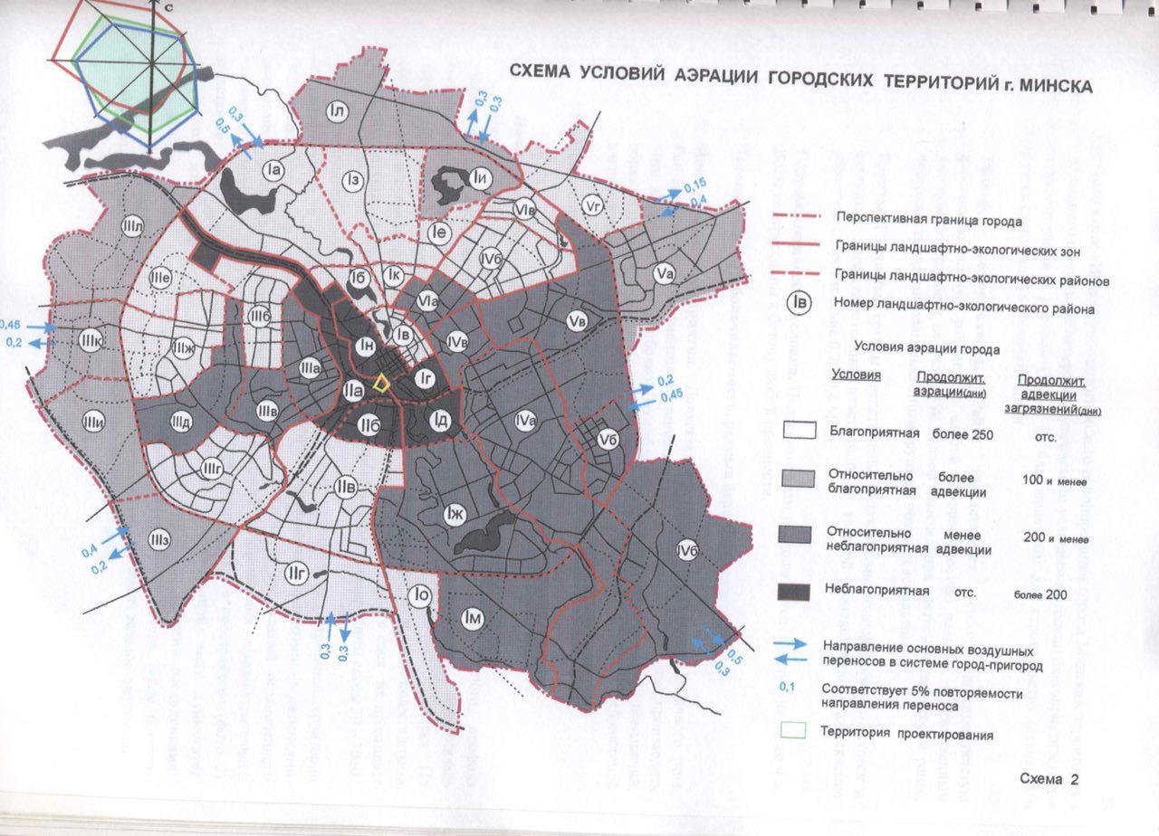 Схема условий аэрации городских территорий г. Минска