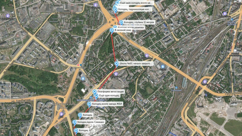 Карта коллектора Грушевка, Минск