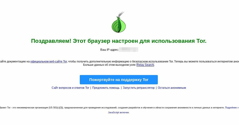 Tor Browser: успешный запуск