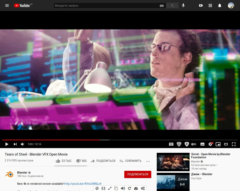 Кнопки SposorBlock в интерфейсе видеоплеера Youtube