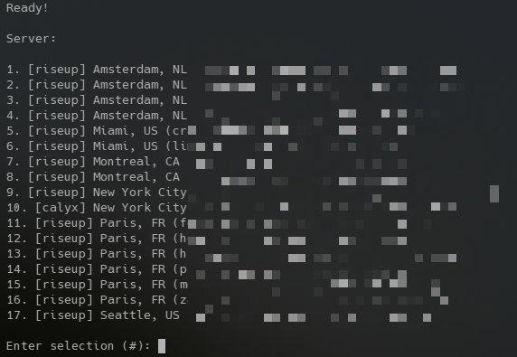 Выбор серверов Bitmask